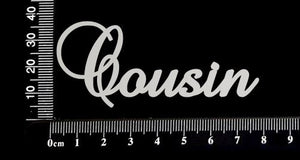 Elegant Word - Cousin - White Chipboard