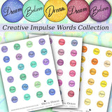 Creative Impulse Words Collection - 1 Inch Circles - DI-10004 - Digital Download