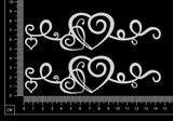 Curly Heart Border Set - B - Small - White Chipboard