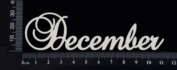 Elegant Word - December - White Chipboard