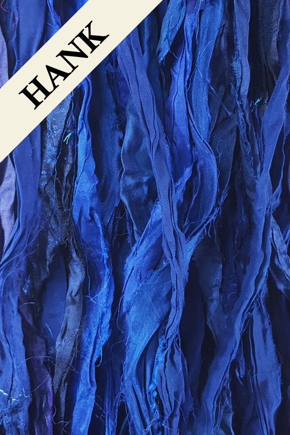 Reclaimed Sari Silk Ribbon - Deep Water - Hank