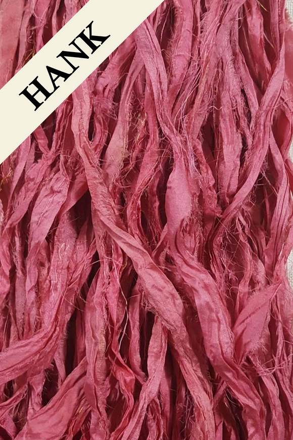 Reclaimed Sari Silk Ribbon - Desert Rose - Hank