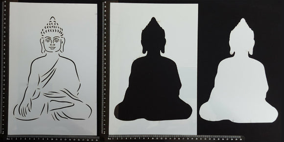 Detailed Buddha - Set of 3 pieces - Stencil - 200mm x 300mm