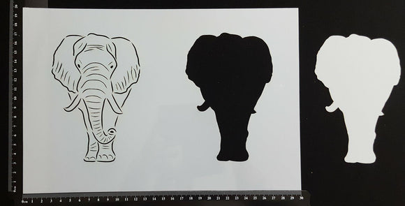 Detailed Elephant & Mask - Stencil - 200mm x 300mm