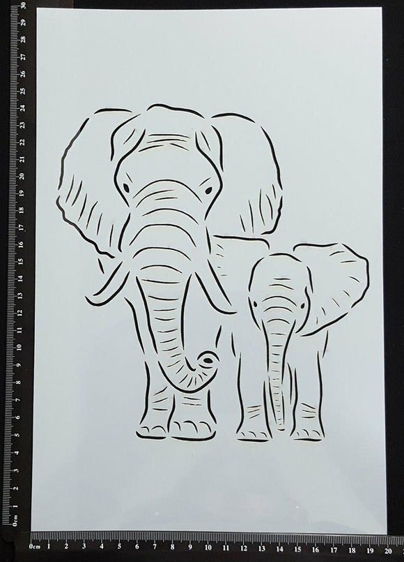 Detailed Elephant Mother and Baby - Stencil - 200mm x 300mm
