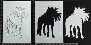 Detailed Horse - Set of 3 pieces - Stencil