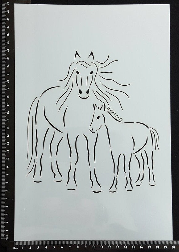 Detailed Horse Mother and Foal - A - Stencil