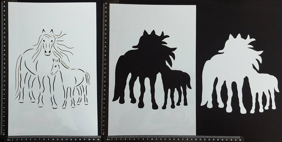 Detailed Horse Mother and Foal - A - Set of 3 pieces - Stencil