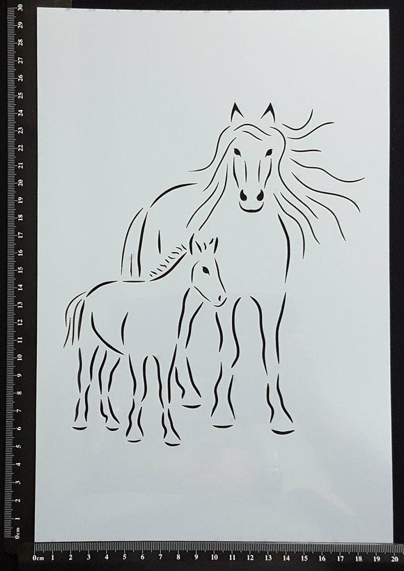 Detailed Horse Mother and Foal - B - Stencil