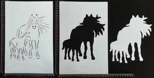 Detailed Horse Mother and Foal - B - Set of 3 pieces - Stencil