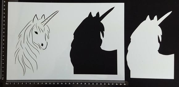 Detailed Unicorn Head - B - Stencil - 200mm x 300mm