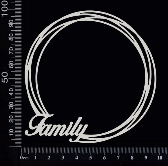 Distressed Circle - Family - Small - White Chipboard