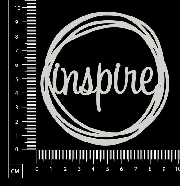 Distressed Word Circle - Inspire - White Chipboard