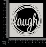 Distressed Word Circle - Laugh - White Chipboard