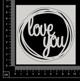 Distressed Word Circle - Love You - White Chipboard