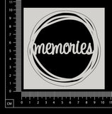 Distressed Word Circle - Memories - White Chipboard