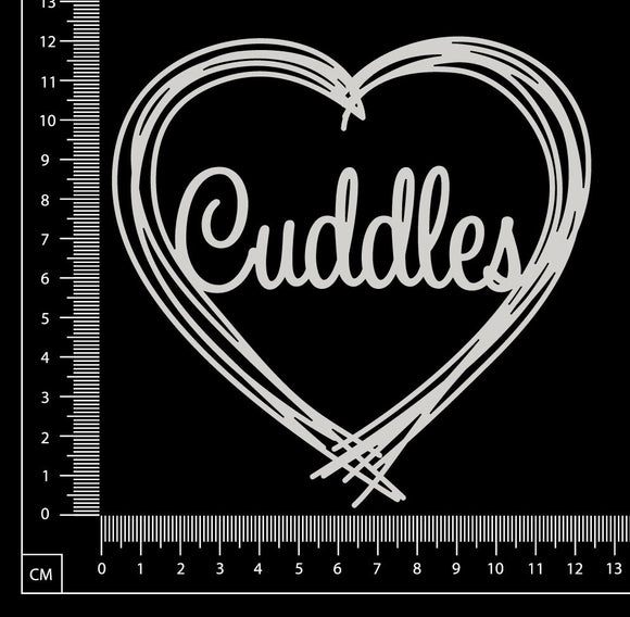Distressed Word Heart - Cuddles - White Chipboard