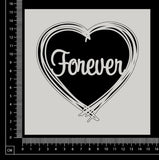 Distressed Word Heart - Forever - White Chipboard