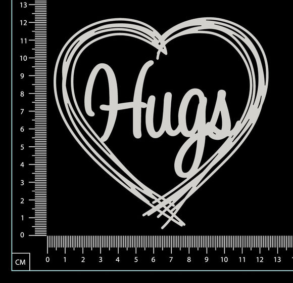 Distressed Word Heart - Hugs - White Chipboard