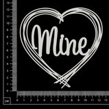 Distressed Word Heart - Mine - White Chipboard