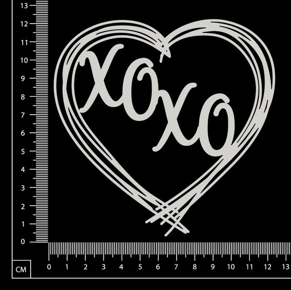 Distressed Word Heart - XOXO - White Chipboard
