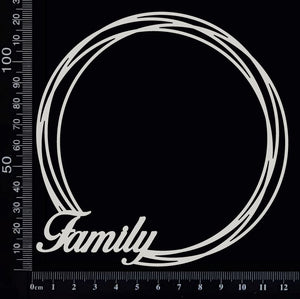 Distressed Circle - Family - Large -  White Chipboard