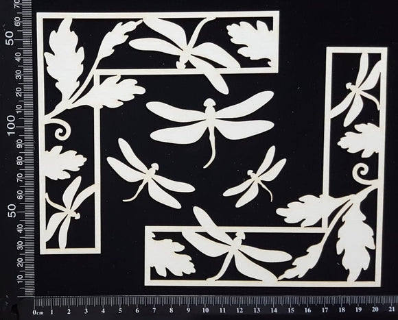 Dragonfly Corner Set - A - White Chipboard