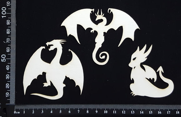 Dragons Set - B - White Chipboard