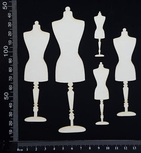 Dressforms Set - B - White Chipboard