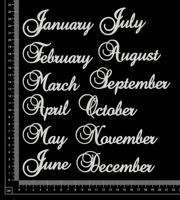 Elegant Word Set - Months Set - A - White Chipboard
