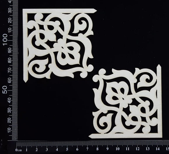 Elegant Flourish Corners - White Chipboard