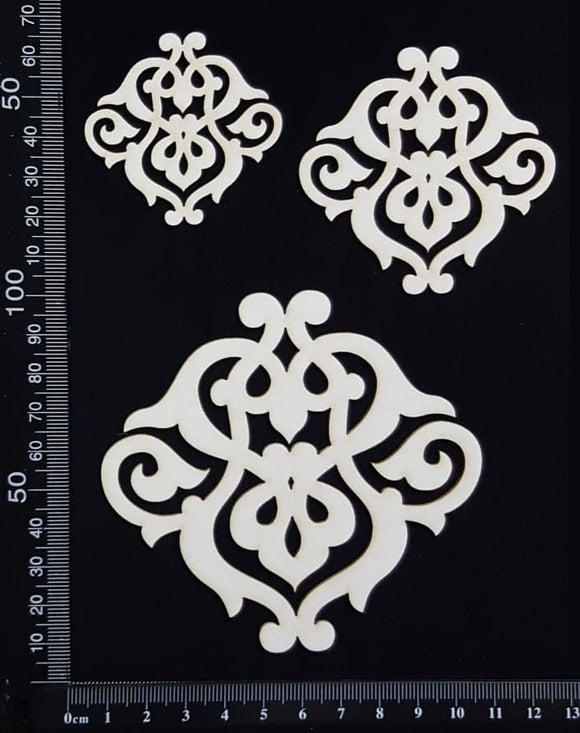 Elegant Flourish Set - White Chipboard