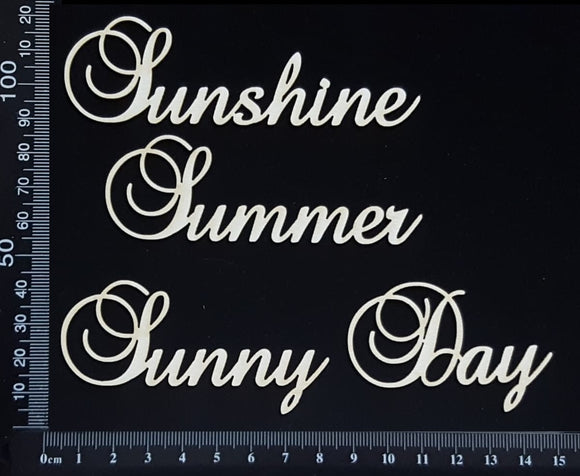 Elegant Word Set - Sunshine Summer Sunny Day - White Chipboard
