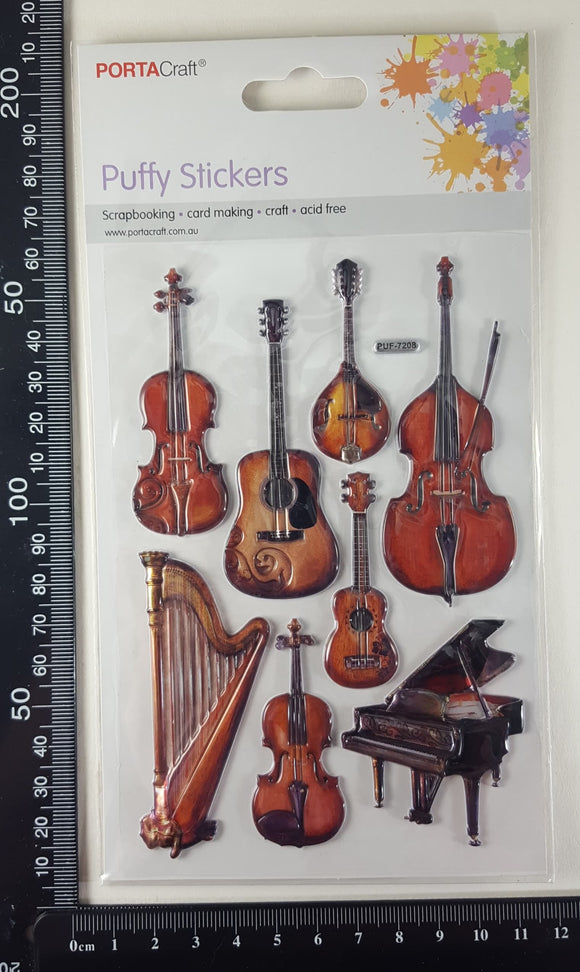 Embossed Stickers - Musical String Instruments