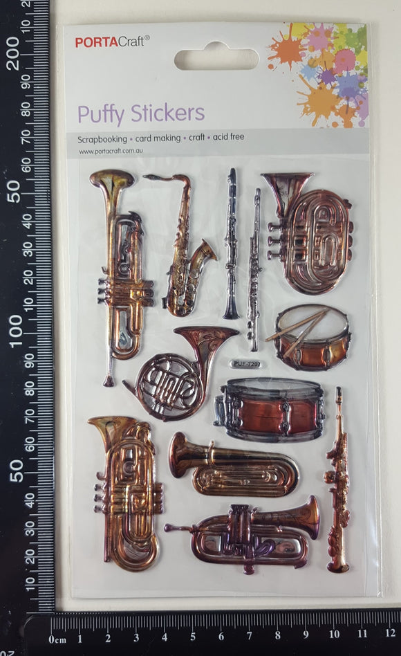 Embossed Stickers - Vintage Brass Instruments