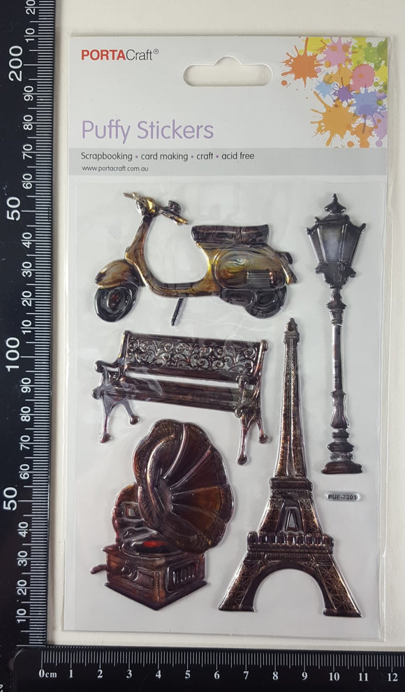 Embossed Stickers - Vintage Paris Elements