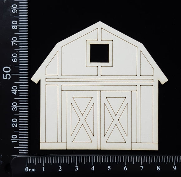 Laser Engraved Barn - White Chipboard