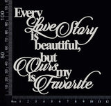 Every Love Story Title Set - White Chipboard
