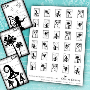 Fairy Collection - Faux Postage Stamps - Set Two - Ink Saver - DI-10051 - Digital Download