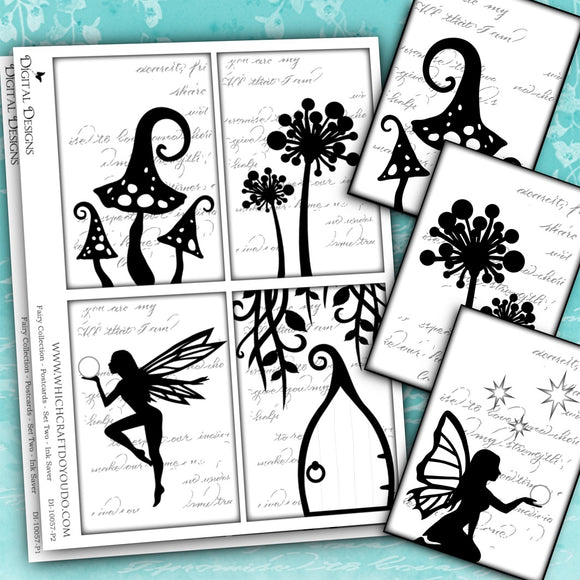 Fairy Collection - Postcards - Set Two - Ink Saver - DI-10057 - Digital Download