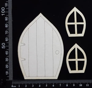 Fairy Door and Windows - Engraved - Set C - White Chipboard