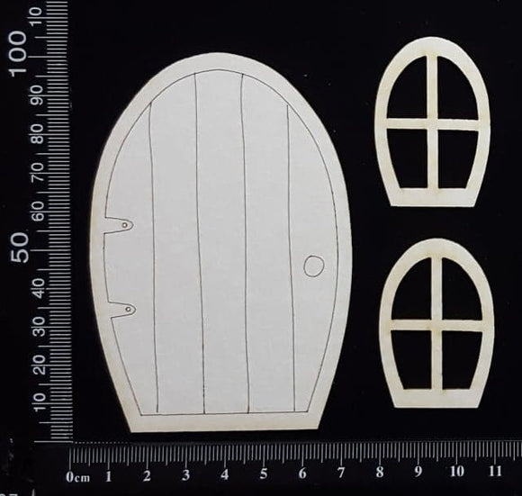 Fairy Door and Windows - Engraved - Set D - White Chipboard