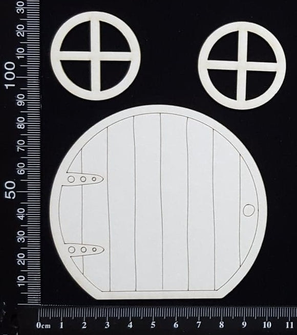 Fairy Door and Windows - Engraved - Set E - White Chipboard