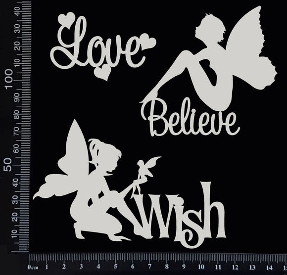 Fairy Word Set - C - White Chipboard