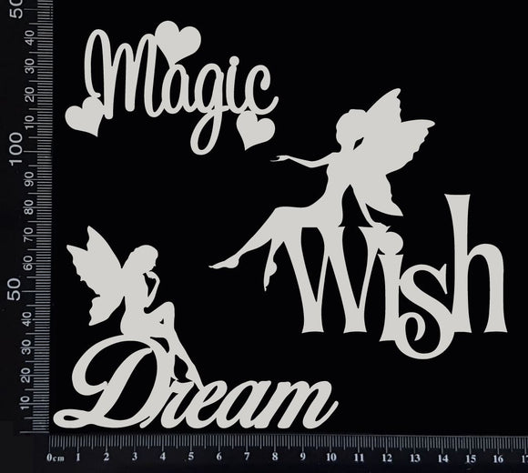 Fairy Word Set - D - White Chipboard