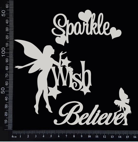 Fairy Word Set - E - White Chipboard