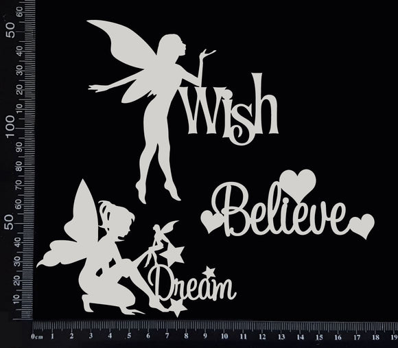 Fairy Word Set - F - White Chipboard