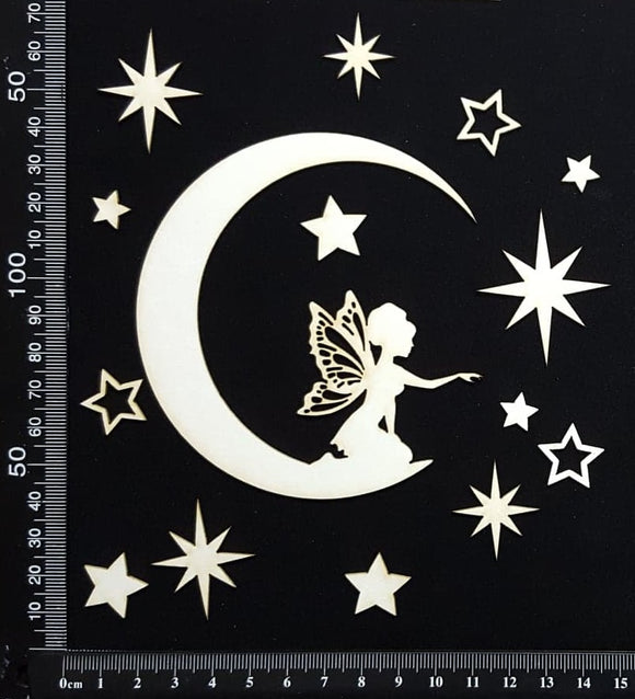 Fairy on a Moon Set - B - White Chipboard