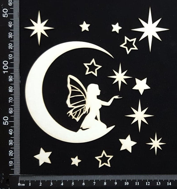 Fairy on a Moon Set - C - White Chipboard