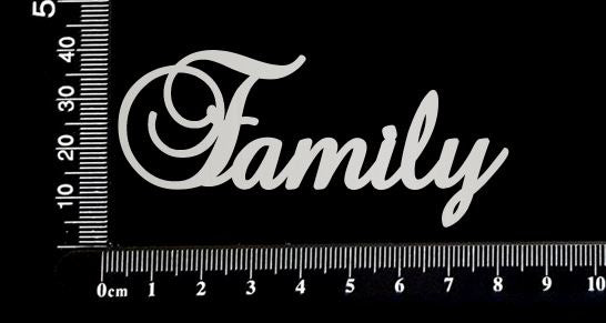 Elegant Word - Family - White Chipboard